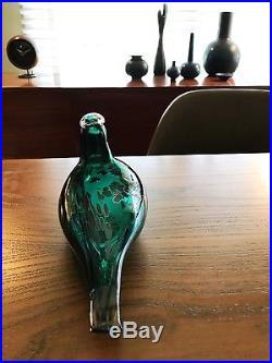 9 Long Green Pekkasiini Bird, Nuutajärvi, Oiva Toikka, iittala, Etched / Tagged