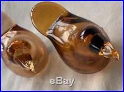Arabia OIVA TOIKKA, Art Glass Bird, Sieppo, Flycatcher, Set Of 2