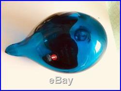 BLUE MLL Tukioppilas rare glass bird Oiva Toikka Nuutajärvi Finland 2000