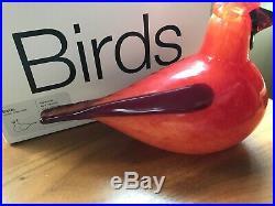 Birds by Oiva Toikka 1972 Iittala Art Glass Red Cardinal With Original Box