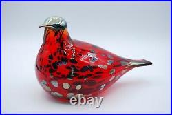 IITTALA /nuutajarvi BIRD BY O. TOIKA. BIRD Rotkehlchen RED RUBY 20 CM