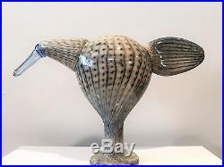 IIttala Oiva Toikka Male Stork Art Glass Bird Nuutajärvi Finland Signed Sticker