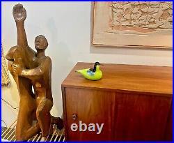 IIttala Toikka Vtg Mid Century Modern Art Glass Common Teal Green Bird Sculpture