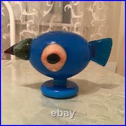 Iitala Oiva Toikka Finland Art Glass Bird Blue Turkinkana Turkey Fowl 2005signed
