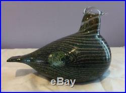 Iittala Art Glass Oiva Toikka Bird 1981 LongTailed Duck Alli Green &Gray Signed