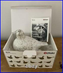 Iittala Art Glass Oiva Toikka White Bird Willow Grouse Riekko 1973 Original Box