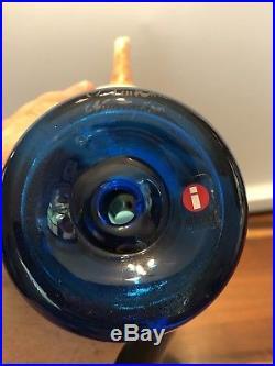 Iittala Blue Magpie Bird by Oiva Toikka Scandinavian Glass Design