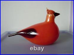 Iittala Finland Art Glass Red Cardinal / Kardinaali Bird By Oiva Toikka