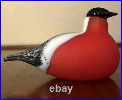 Iittala Finland Nuutajarvi Oiva Toikka 1994 Red White Bullfinch Punatulkku Bird