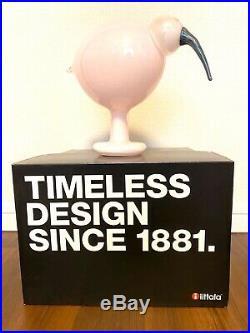Iittala Finland OIVA TOIKKA Pink Glass Bird IBIS Figurine With Label & Signed