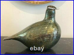 Iittala Finland Vintage Oiva Toikka Green Glass Bird Figurine