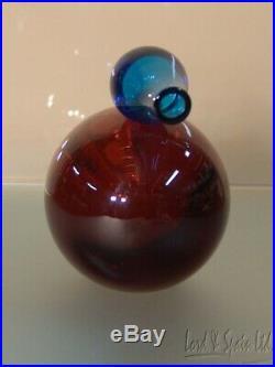 Iittala Giorgio Vigna 8 1/4 Long COLORI Art Glass Orange & Blue Bird Figurine