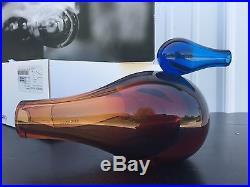 Iittala Giorgio Vigna 8 1/4 Long COLORI Big Orange And Blue Art Glass Bird