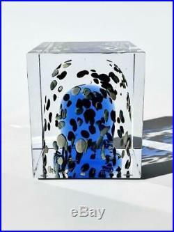 Iittala Glass Cube ornament 86.5cm Oiva Toikka Bird Blue Lusterware NO BOX