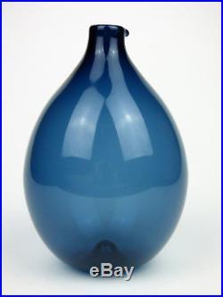 Iittala I-Bird blue glass bottle vase Timo Sarpaneva Finland signed 50/60s retro