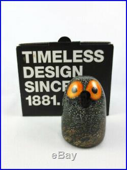 Iittala Little Barn Owl Bird by Toikka Signed Art Glass Sculpture Figuruine Box