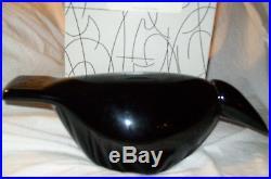 Iittala OIVA TOIKKA Raven Glass Bird 1999 Signed with Box Black Great Condition