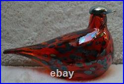 Iittala Oiva Toikka Nuutajarvi Art Glass Ruby Bird 1996