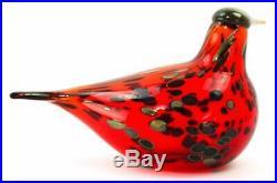 Iittala Oiva Toikka Nuutajärvi Glass Ruby Red Bird Made In Finland Rare
