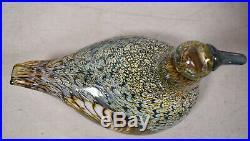 Iittala Oiva Toikka Nuutajarvi Iridescent Glass Bird Female Duck Signed