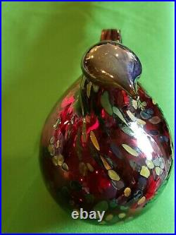Iittala Oiva Toikka Signed Hand Blown Glass Speckled Bird ruby RED! LARGE