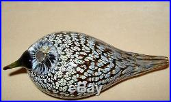 Iittala Oiva Toikka Spotted Crake Gorgeous Glass Bird Signed w Sticker Mint