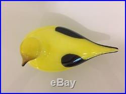Iittala Oiva Toikka Yellow Oriole Glass Bird