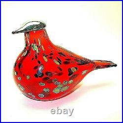 Iittala Signed O. Toikka Nuutajarvi Original Sticker Ruby Red Glass Bird XLNT