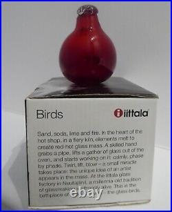 Iittala Toikka Glass Bird Red Tirri /Little Tern Nuutajarvi 1996-2005 NEW in Box