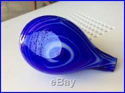 Light turquoise head and bluewhite stripes 46/1990 glass bird Oiva Toikka