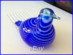 Light turquoise head and bluewhite stripes 46/1990 glass bird Oiva Toikka LtdEd