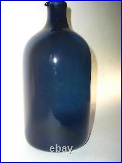Lintupullo Bird Bottle Timo Sarpaneva Blue Glass Bottle Carafe Iittala