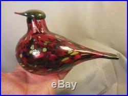 Littala Finland Art Glass Ruby Red Bird Signed Oiva Toikka