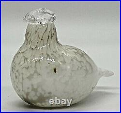Littala Oiva Toika Nuutajarvi Art Glass Bird Willow Grouse White Figurine Signed