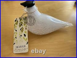 New MUURLA TILHI CLEAR/ WHITE GLASS BIRD 8x3.5x5