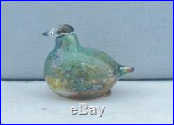 Nuutajarvi Glass Finland Oiva Toikka Small Green Lustre Bird Iittala