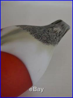 OIVA TOIKKA IITTALA BULLFINCH BIRD mouth blown Finnish glass Finland