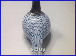 Oiva Toikka Art Glass Bird 1991 Blue / Black Diver Nuutajarvi Finland Iittala