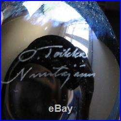 Oiva Toikka Baby Crow Black Lustre, Nuutajarvi Vintage Art Glass Bird Signed