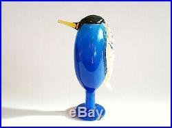 Oiva Toikka Bird Heron Blue Amber Beak Unique Design Glass Art Iittala