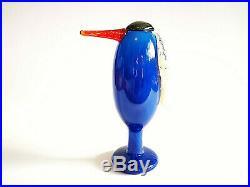 Oiva Toikka Bird Heron Blue red beak Unique Design Glass Art Iittala