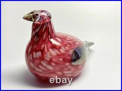Oiva Toikka Bird Pine Grossbeak Male Design Glass Art Iittala Finland