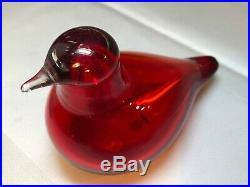 Oiva Toikka Designed & Signed iittala Art Glass Nuutajarvi Red Tern