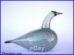 Oiva Toikka Grebe Gray bird Glass Design art Iittala Nuutajärvi Finland IN BOX