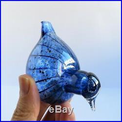 Oiva Toikka Iittala Special Swirl Blue Bird Transparent Signed Mint Finland