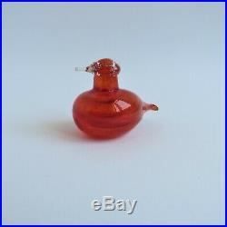 Oiva Toikka Iittala Tiny Red Glass Bird Golden Crested Kinglet Vintage