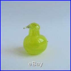 Oiva Toikka Iittala Tiny Yellow Glass Bird Golden Crested Kinglet Vintage