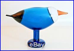 Oiva Toikka Iittala Vtg Mid Century Modern Blue Glass Magpie Bird Signed Finland