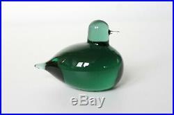 Oiva Toikka Nuutajarvi Early Signed Small Green Glass Bird Iittala Pulmu Bunting
