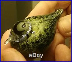 Oiva Toikka Nuutajarvi For Iittala Whippoorwill Glass Bird Signed, Scarce